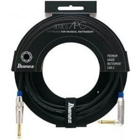 Ibanez Deluxe Amphenol 20ft Black Instrument Cable Angled To Straight
