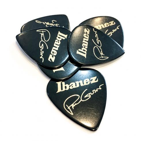 Ibanez Paul Gilbert Black Celluloid Guitar Picks, Heavy, 6-Pack