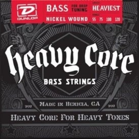 Jim Dunlop 4-String Heavy Core Nickel Wound 55-120 Bass Strings For Drop Tuning Heaviest