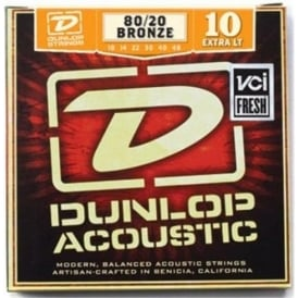 Jim Dunlop 80/20 Bronze Acoustic Guitar Strings 10-48 Extra Light