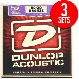 Jim Dunlop 80/20 Bronze Acoustic Guitar Strings 11-52 Medium/Light, 3-Pack
