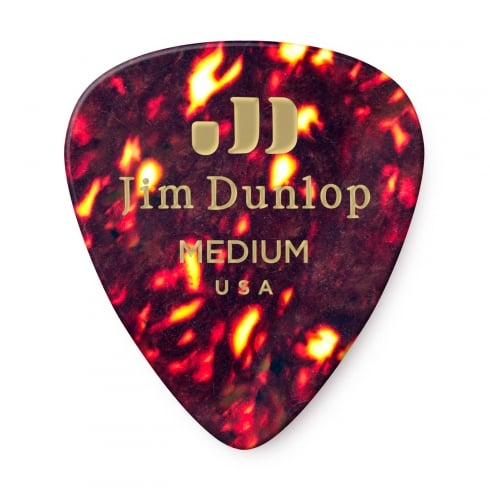 Jim Dunlop Genuine Celluloid Classic Tortoise Shell Medium Guitar Plectrums Pack of 12