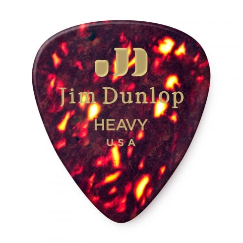 Jim Dunlop Genuine Classic Celluloid, Tortoise Shell, Heavy, Plectrums 12-Pack