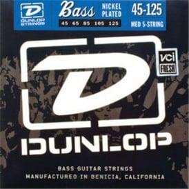 Jim Dunlop 5-String Nickel Plated Steel 45-125 Long Scale Bass Guitar Strings Medium DBN45125