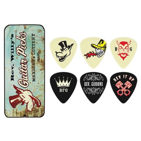 Jim Dunlop Rev. Willy's Mexican Lottery Brand 6-Pick Tins Medium