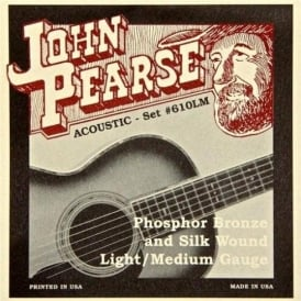 John Pearse 610LM Silk Wound Phosphor Bronze Acoustic Strings 12-53 Light/Medium