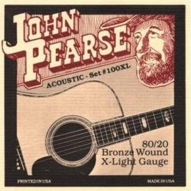 John Pearse 100XL 80/20 Bronze Acoustic Guitar Strings 10-47 Extra Light Gauge