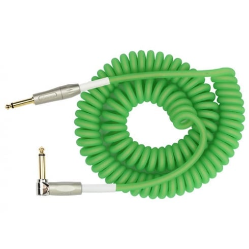 Kirlin Cable Kirlin Premium Green Coil Instrument Cable Straight - Angled 30ft