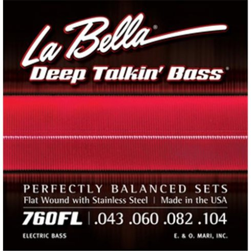 4-String Deep Talkin' Bass Stainless Steel Flat Wound 43-104 Bass Strings