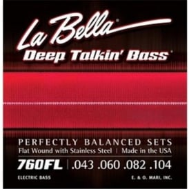La Bella 4-String Deep Talkin' Bass Stainless Steel Flat Wound 43-104 Bass Strings