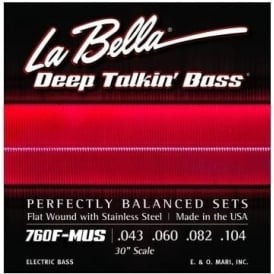"""La Bella 760F-MUS Stainless Steel Flat wound 30"""" Scale. Fender Mustang Bass"""