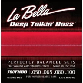 La Bella 760FHBB Beatle Bass Stainless Steel Flatwound Strings, 50-100