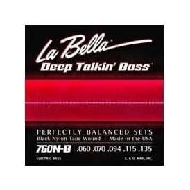 La Bella 760N-B 5-String Black Nylon Tape Wound 60-135 Bass Guitar Strings