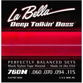 La Bella 760N Deep Talkin' Bass Black Nylon Tape Wound Strings, 60-115