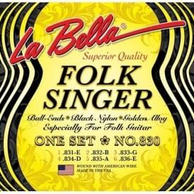La Bella 830 FolkSinger Black Nylon Golden Alloy Folk Guitar Strings