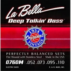La Bella 4-String 0760M Deep Talkin' Bass 1954 Stainless Steel Flat Wound 52-110 Bass Strings
