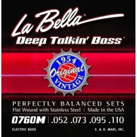 La Bella 4-String 0760M-M Deep Talkin' Bass 1954 Stainless Steel Flat Wound 52-110, Medium Scale