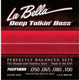 La Bella 760FHBB Beatle Bass Stainless Steel Flatwound Strings, 50-100