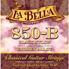 La Bella 850B Elite, Black Nylon & Golden Alloy, Classical Guitar Strings, Medium Tension