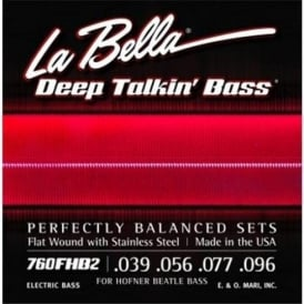 LaBella 4-String Stainless Steel Flatwound 39-96 Hofner Beatle Bass Guitar Strings 760FHB2