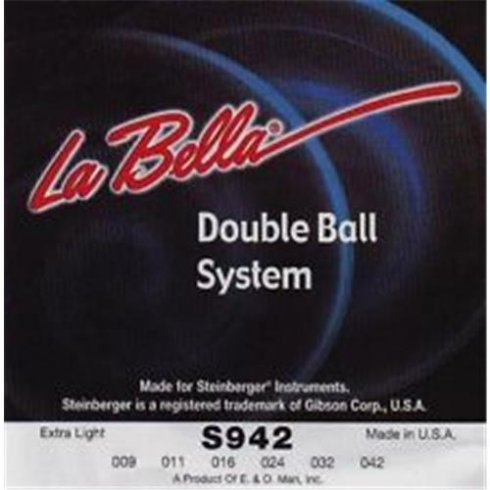 LaBella Hard Stainless Steel Steinberger Double Ball End 9-42 Extra Light
