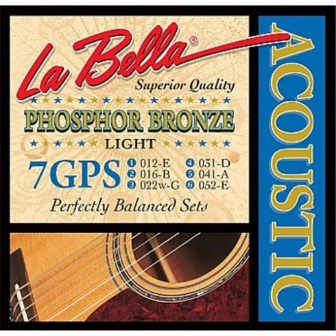 LaBella Phosphor Bronze 7GPS 12-52 Light Acoustic Guitar Strings