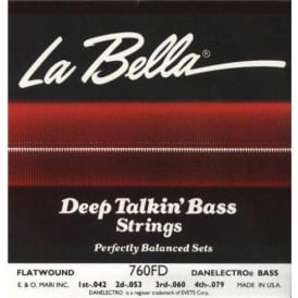 LaBella Danelectro Longhorn Style Flatwound 4-String 42-83 Short Scale Bass Guitar Strings