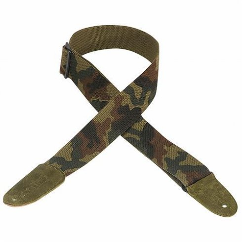 "Levy's MC8-CAM 2"" Cotton Strap with Leather Ends Camo"