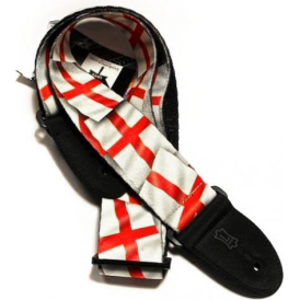 Levy's MP-EL Polyester Guitar Strap - St Georges Cross English Flag Design