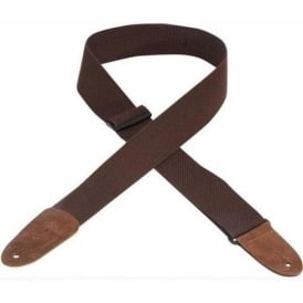 "Levy's Leathers MC8-BRN 2"" Wide Cotton Brown Guitar Strap with Leather Ends"
