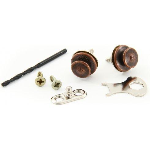 LOXX Strap Locks for Acoustic Guitar, Antique Copper