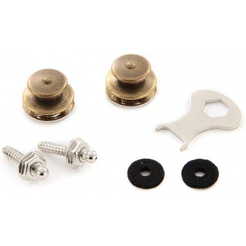 LOXX Strap Locks for Guitar & Bass, Antique Brass