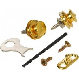 Loxx Straplocks for Acoustic Guitar in Gold