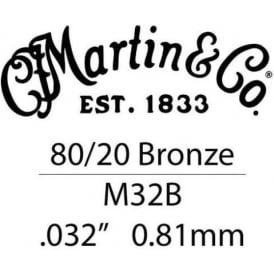 Martin .032 Bronze Wound Single Acoustic Guitar String With Ball End