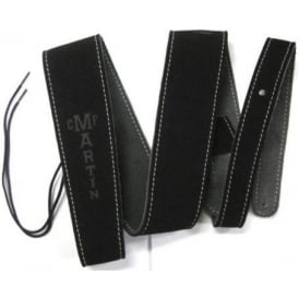 """Martin 18A0016 Suede 2.5"""" Wide Black Guitar Strap with Stitching"""