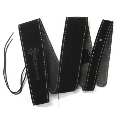 """Martin 18A0016 Suede 2.5"""" Wide Guitar Strap with Stitching, Black"""