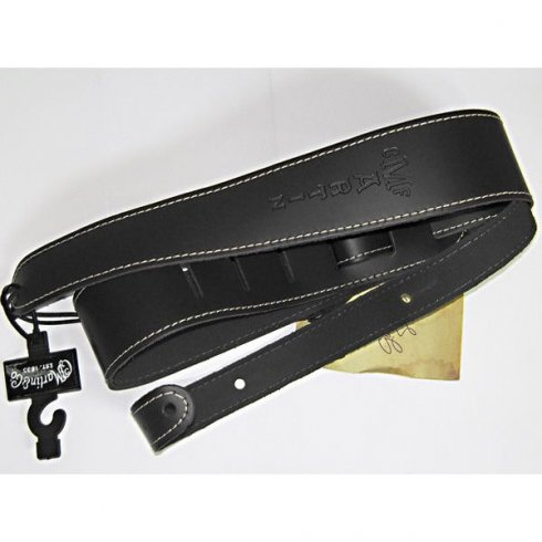 """Martin 18A0046 Slim Leather 2.5"""" Wide Black Guitar Strap with Stitching"""