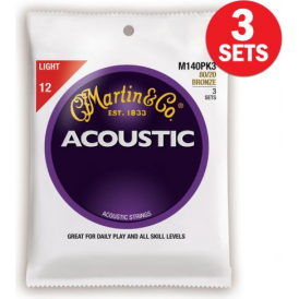 Martin 80/20 Bronze M140 Acoustic Guitar Strings 12-54 Light 3-Pack
