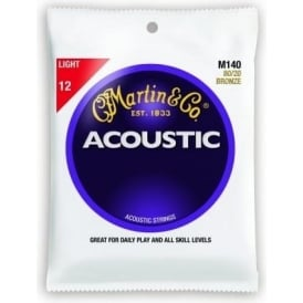Martin 80/20 Bronze M140 Acoustic Guitar Strings 12-54 Light Gauge