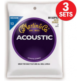 Martin 80/20 Bronze M150 Acoustic Guitar Strings 13-56 Medium 3-Pack