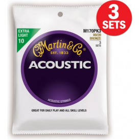 Martin 80/20 Bronze M170 Acoustic Guitar Strings 10-47 Extra Light 3-Pack