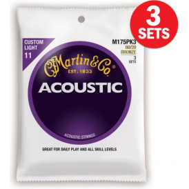 Martin 80/20 Bronze M175 Acoustic Guitar Strings 11-52 Custom Light 3-Pack