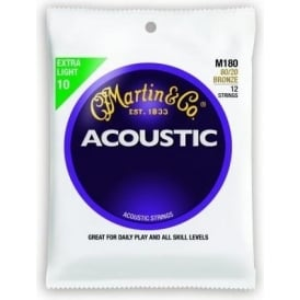 Martin 80/20 Bronze M180 Acoustic Guitar Strings 10-47 12-String Extra Light