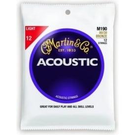 Martin 80/20 Bronze M190 Acoustic Guitar Strings 12-54 12-String Light