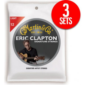 Martin Clapton's Choice MEC12 Phosphor Bronze 12-54 Acoustic Guitar Strings, Light, 3-Pack