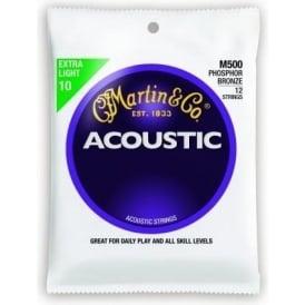Martin M500 12-String Phosphor Bronze 10-47 Acoustic Guitar Strings Extra Light Gauge