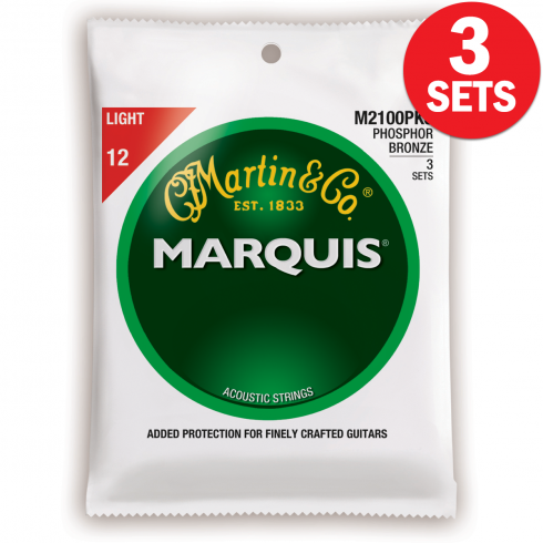 Marquis M2100 3-Pack Phosphor Bronze 12-54 Light Acoustic Guitar Strings