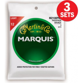 Martin Marquis M2100 3-Pack Phosphor Bronze 12-54 Light Acoustic Guitar Strings