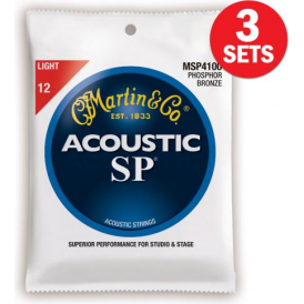 Martin MSP4100 3-Pack Studio Performance Phosphor Bronze 12-54 Light Acoustic Guitar Strings