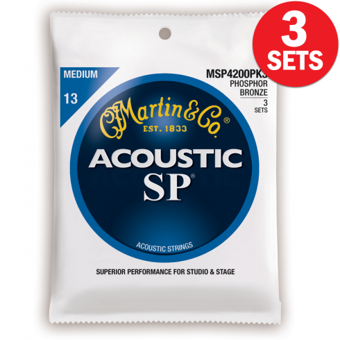 MSP4200 3-Pack Studio Performance Phosphor Bronze 13-56 Med Acoustic Guitar Strings